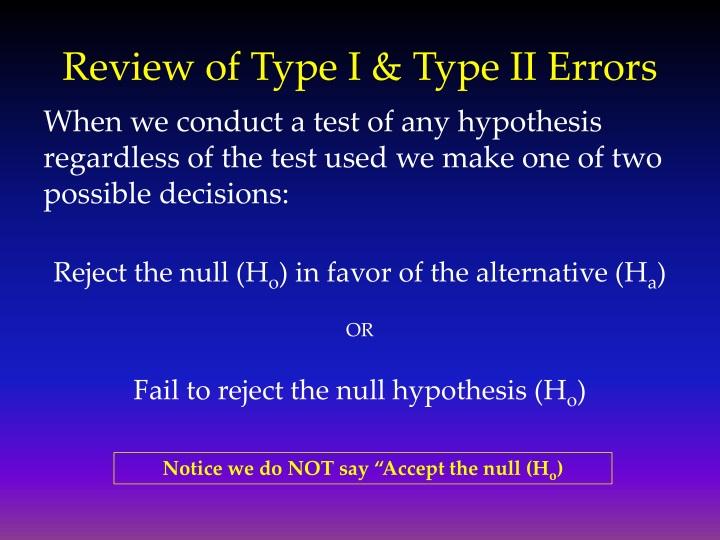 Review of type i type ii errors