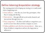 define listening reputation strategy