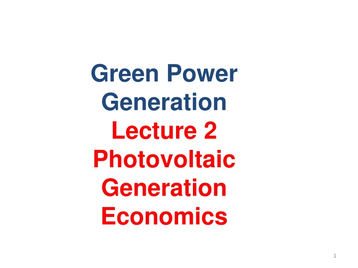 green power generation lecture 2 photovoltaic n.