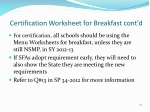 certification worksheet for breakfast cont d