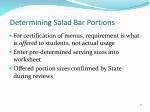 determining salad bar portions