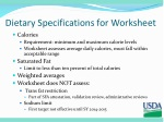 dietary specifications for worksheet