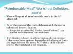 reimbursable meal worksheet definition cont d