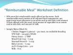 reimbursable meal worksheet definition