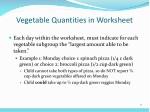 vegetable quantities in worksheet