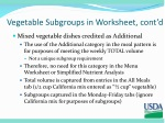 vegetable subgroups in worksheet cont d
