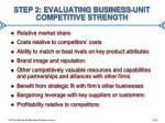 step 2 evaluating business unit competitive strength