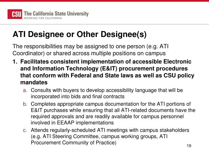 ATI Designee or Other Designee(s)