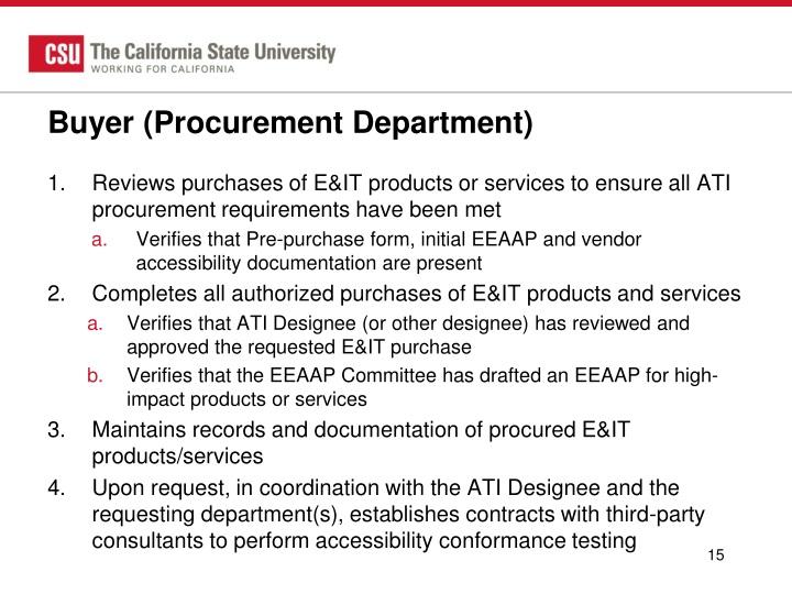 Buyer (Procurement Department)