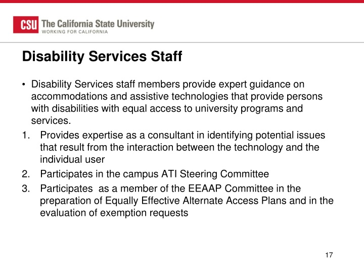 Disability Services Staff
