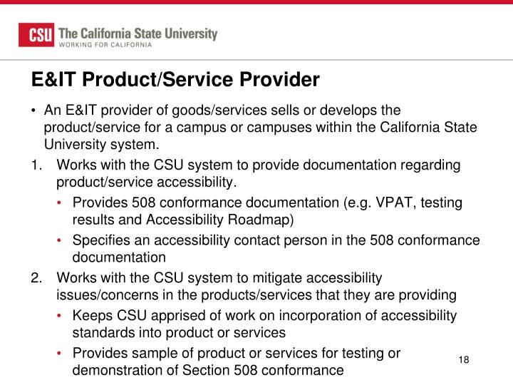 E&IT Product/Service Provider