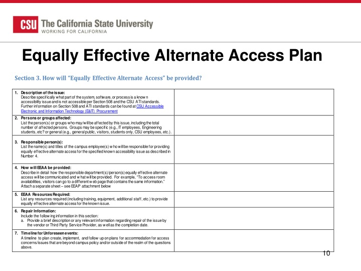 Equally Effective Alternate Access Plan