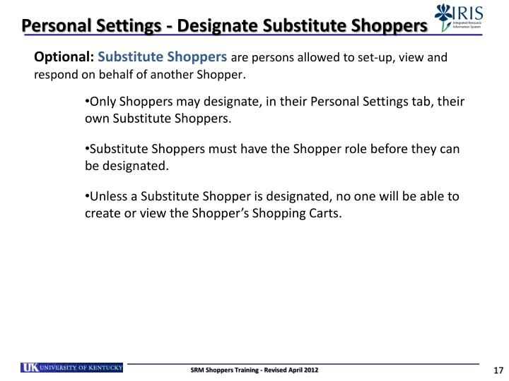 Personal Settings - Designate Substitute Shoppers