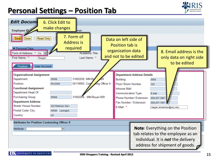 Personal Settings – Position Tab