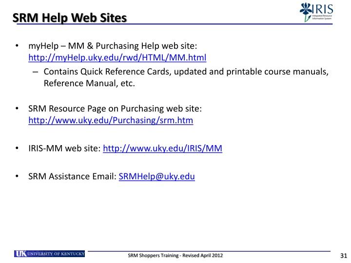 SRM Help Web Sites