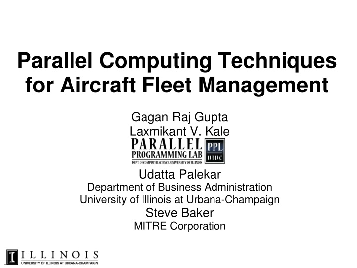 Parallel computing techniques for aircraft fleet management