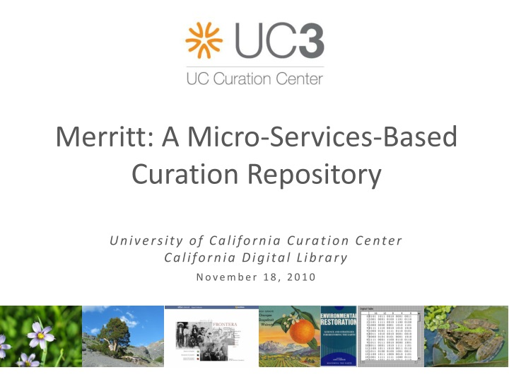 merritt a micro s ervices based curation repository n.