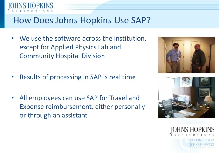 How Does Johns Hopkins Use SAP?