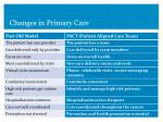changes in primary care