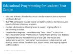 educational programming for leaders boot camps