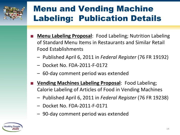 Menu and Vending Machine Labeling:  Publication Details