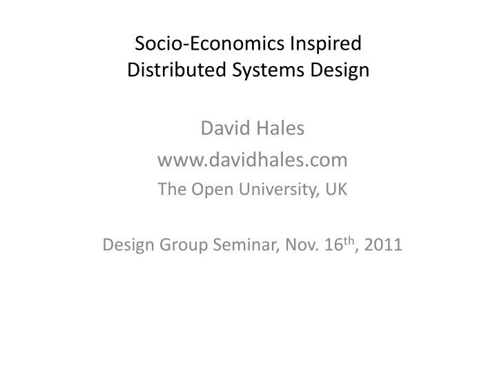 socio economics inspired distributed systems design n.