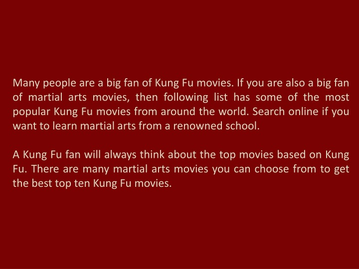 PPT - Top Kung Fu and Martial Arts Movies of All Time