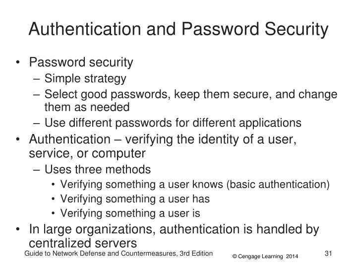 Authentication and Password Security