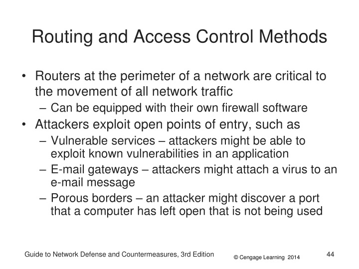 Routing and Access Control Methods