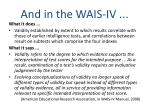 and in the wais iv