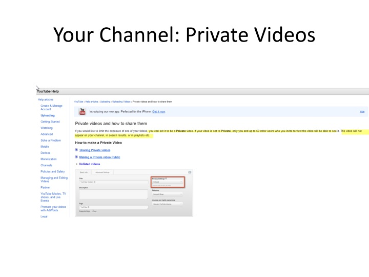 Your Channel: Private Videos