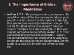 i the importance of biblical meditation 1