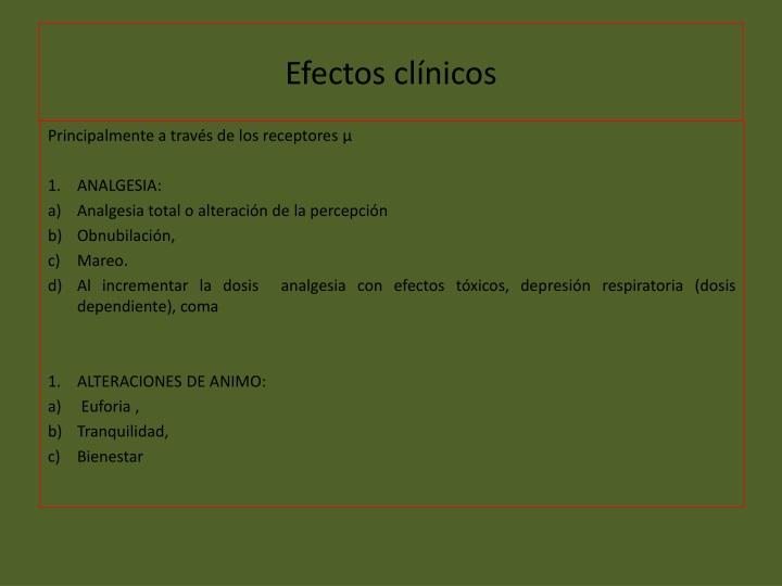 Efectos clínicos