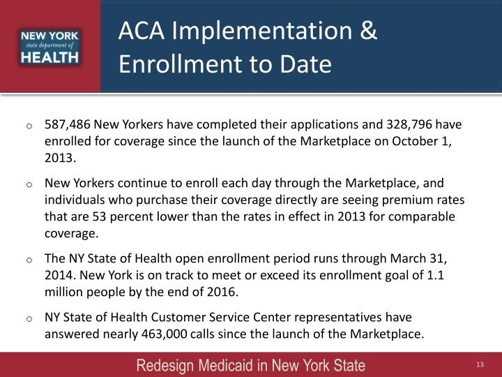 ACA Implementation & Enrollment to Date