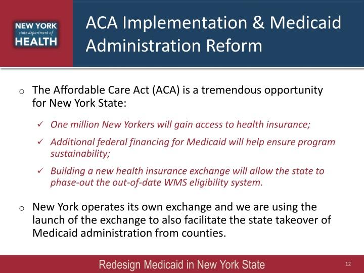 ACA Implementation & Medicaid Administration Reform