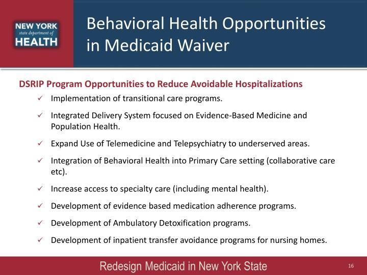 Behavioral Health Opportunities