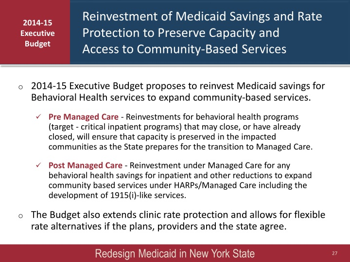 Reinvestment of Medicaid Savings and Rate Protection to Preserve Capacity and