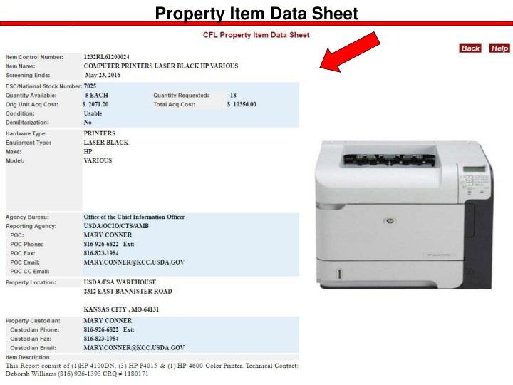 Property Item Data Sheet