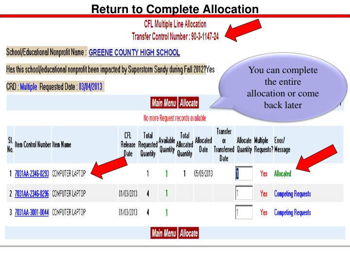 Return to Complete Allocation