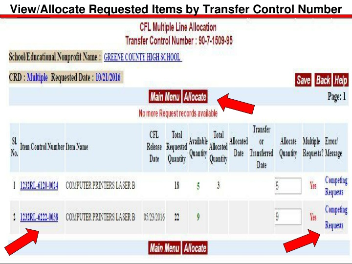 View/Allocate Requested Items by Transfer Control Number