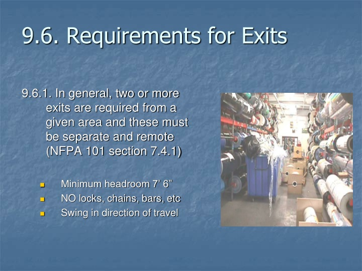 9.6. Requirements for Exits