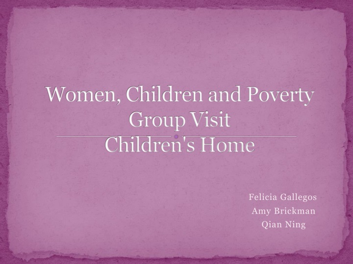 Women children and poverty group visit children s home