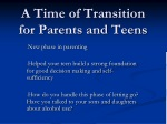 a time of transition for parents and teens