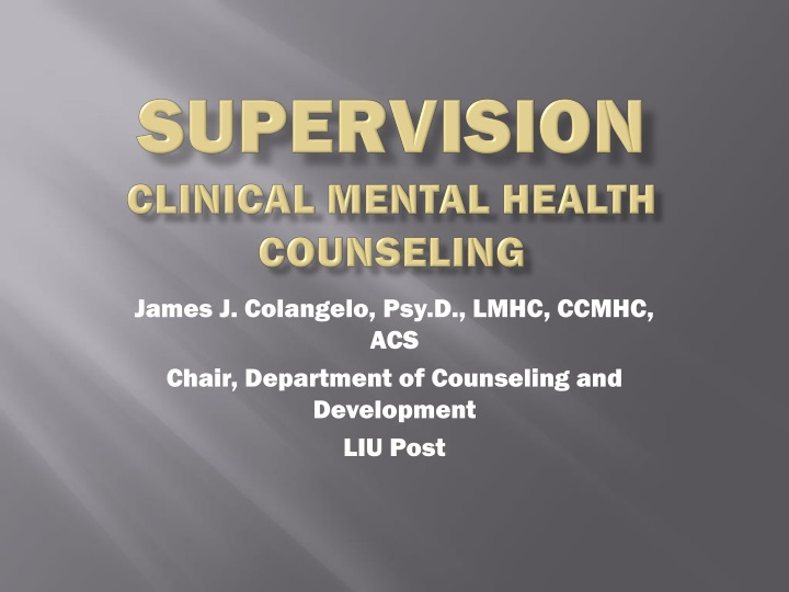 supervision clinical mental health counseling n.