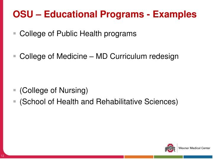 OSU – Educational Programs - Examples