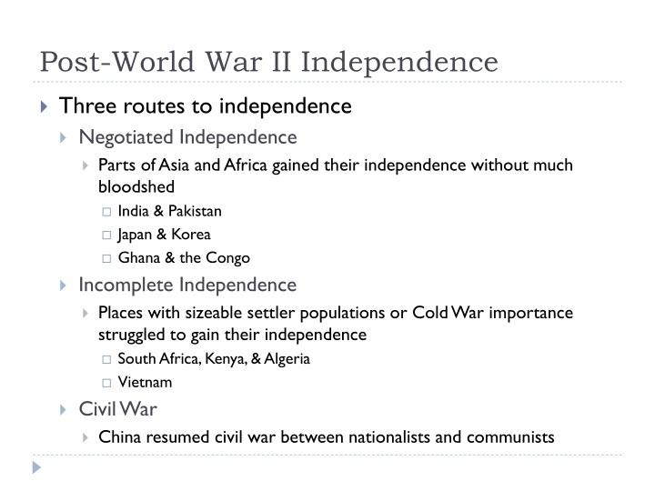 Post world war ii independence