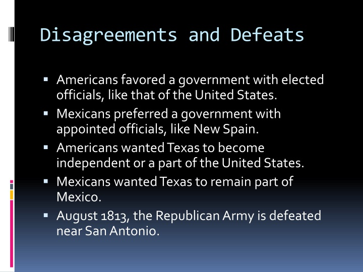 Disagreements and Defeats