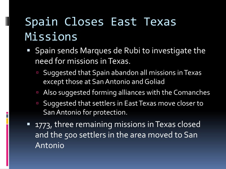 Spain Closes East Texas Missions
