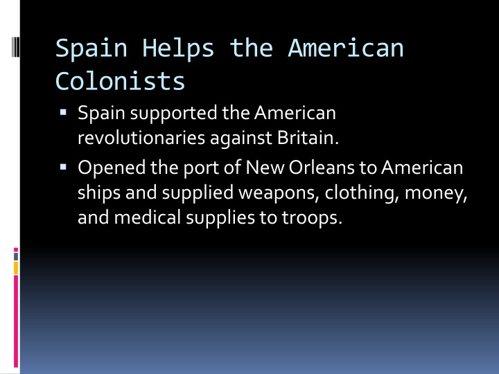 Spain Helps the American Colonists
