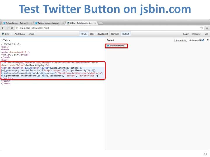 Test Twitter Button on